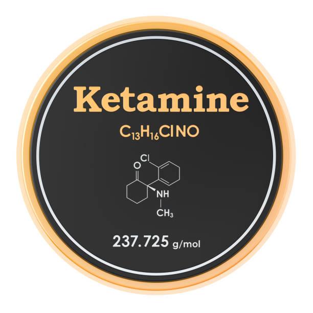 ketamine. chemische formule, moleculaire structuur. 3d-rendering geïsoleerd op witte achtergrond - ketamine stockfoto's en -beelden