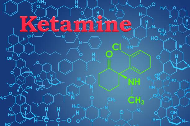 ketamine. chemische formule, moleculaire structuur. 3d-rendering - ketamine stockfoto's en -beelden