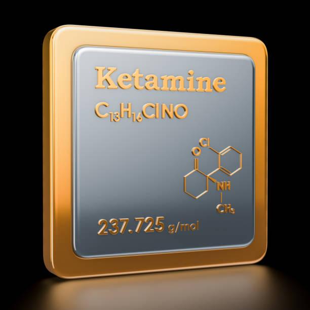 ketamine. pictogram, chemische formule, moleculaire structuur. 3d-rendering - ketamine stockfoto's en -beelden