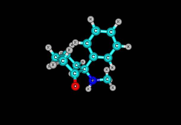 ketamine molecule on black - ketamine stockfoto's en -beelden