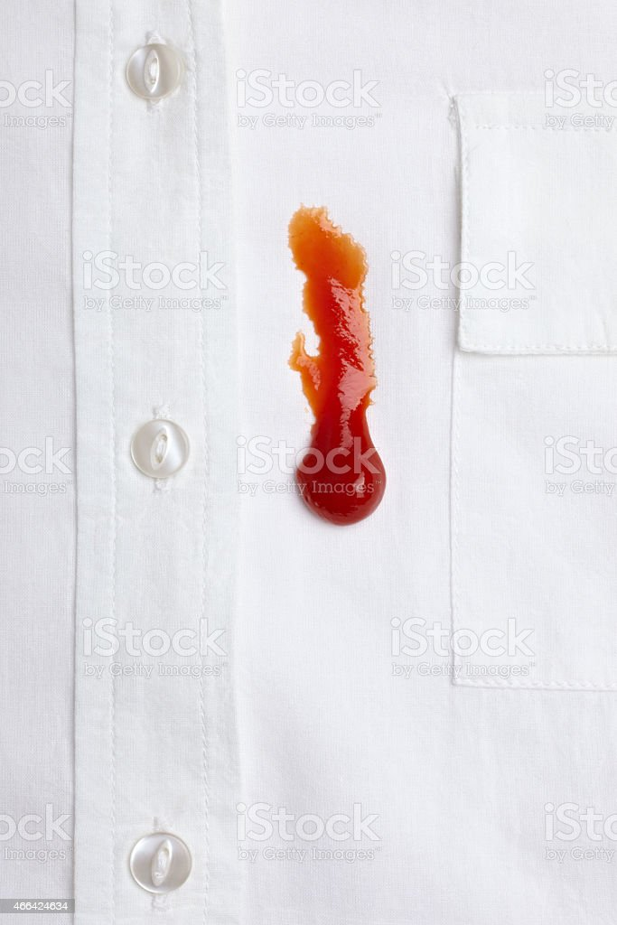 ketchap stain white shirt accident stock photo