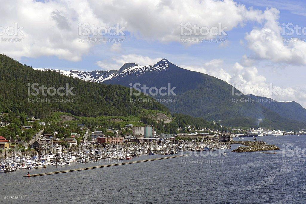 Ketchikan, Alaska, from a cruise ship on Ketchikan Creek stock photo