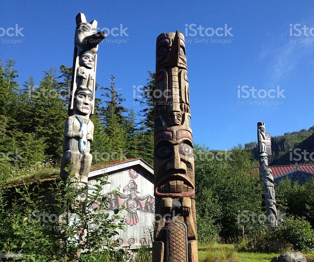 Ketchikan totem poles stock photo