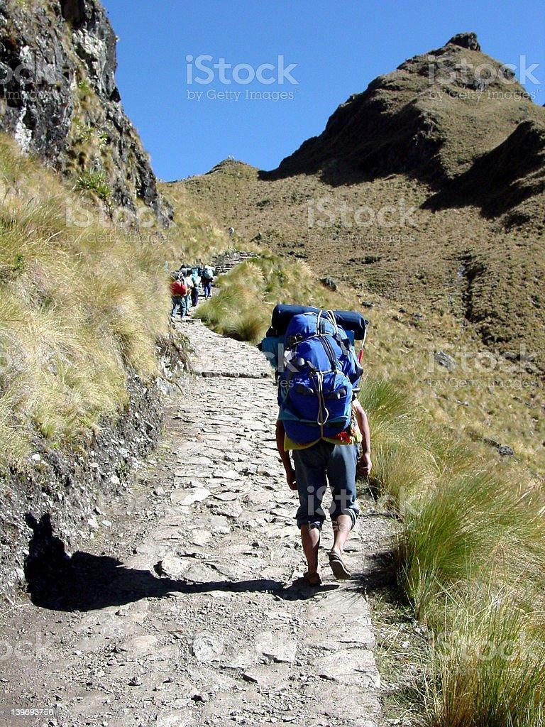 Ketchuan porter on the Inca Trail stock photo