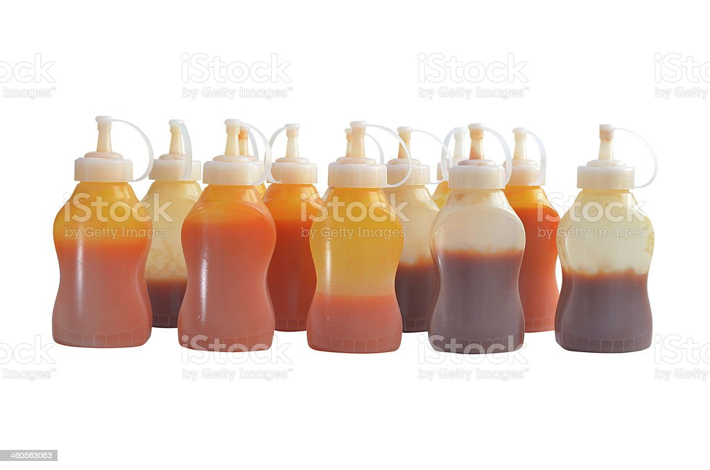 ketchup and chili sauce bottles stock photo