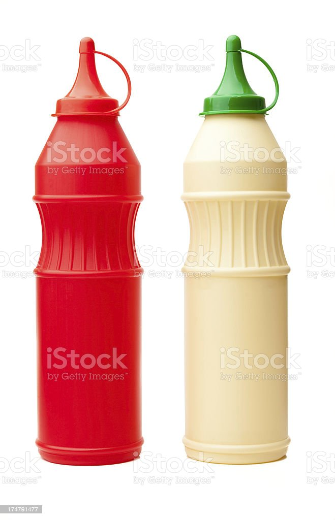 Ketchup and Mayonnaise Bottles Isolated royalty-free stock photo