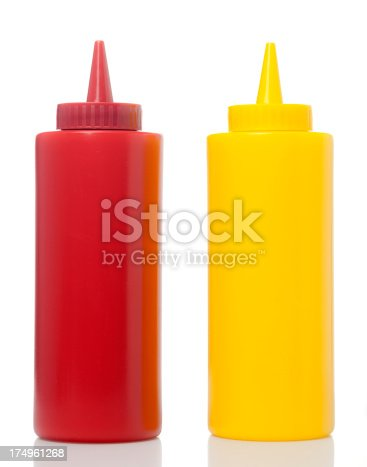 Ketchup And Mustard Bottles On White Background