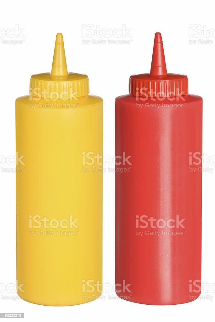 Ketchup und Senf Drücke Flaschen – Foto