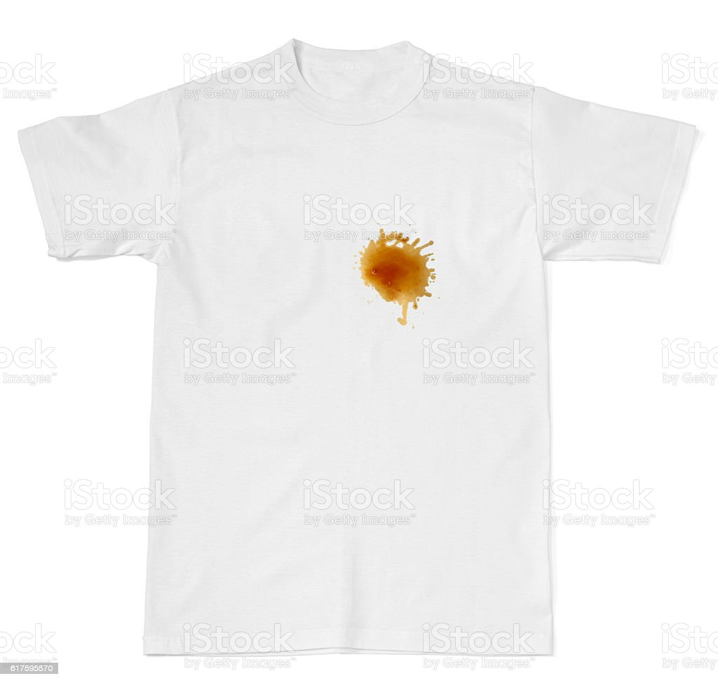 ketchup chocolate coffee wine food stains on a t shirt stock photo