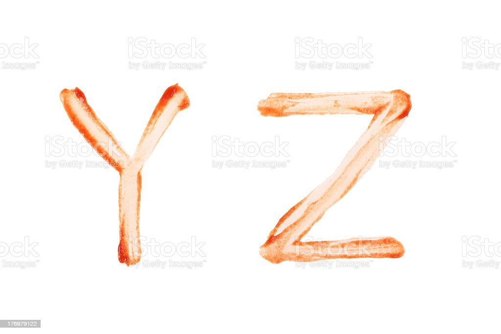 Ketchup Letter Y and Z royalty-free stock photo