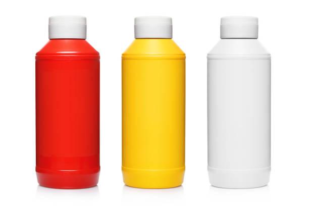garrafas de ketchup, mostarda e maionese em branco - squeeze bottle - fotografias e filmes do acervo