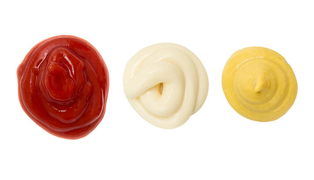 Ketchup Mustard and Mayonnaise stain blob stock photo