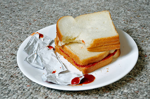 Ketchup Sandwiches, Not on a Table stock photo