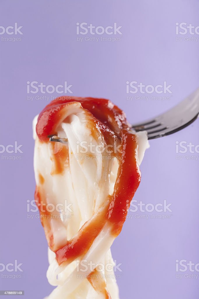 ketchup with noodle royalty-free stock photo