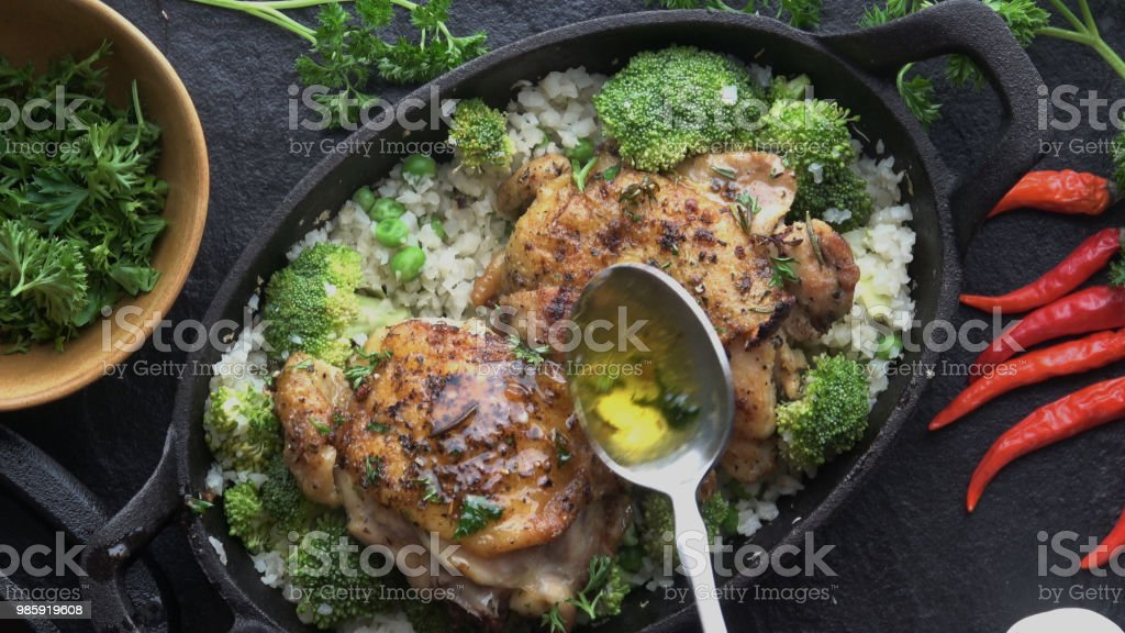 Keto Cast Iron Chicken Chicken Thighs royalty-free stock photo