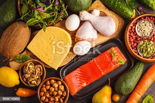 939018232 istock photo Keto (ketogenic) diet concept. Balanced low-carb food background. High protein food. Vegetables, fish, meat, cheese, nuts on a dark background. 939016950