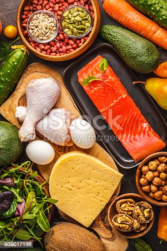 939018232 istock photo Keto (ketogenic) diet concept. Balanced low-carb food background. High protein food. Vegetables, fish, meat, cheese, nuts on a dark background. 939017198