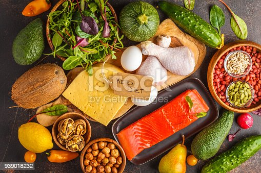 939018232 istock photo Keto (ketogenic) diet concept. Balanced low-carb food background. High protein food. Vegetables, fish, meat, cheese, nuts on a dark background. 939018232