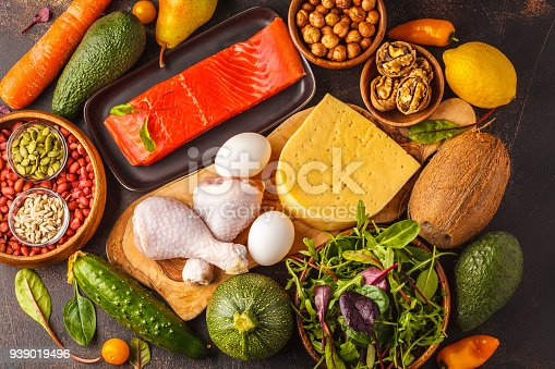 istock Keto (ketogenic) diet concept. Balanced low-carb food background. High protein food. Vegetables, fish, meat, cheese, nuts on a dark background. 939019496