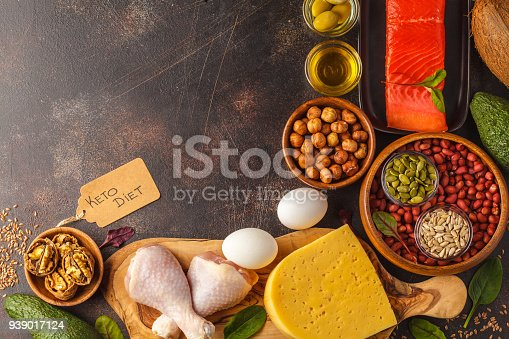 939018232 istock photo Keto (ketogenic) diet concept. High protein food, food frame background. Vegetables, fish, meat, cheese, nuts on a dark background. 939017124