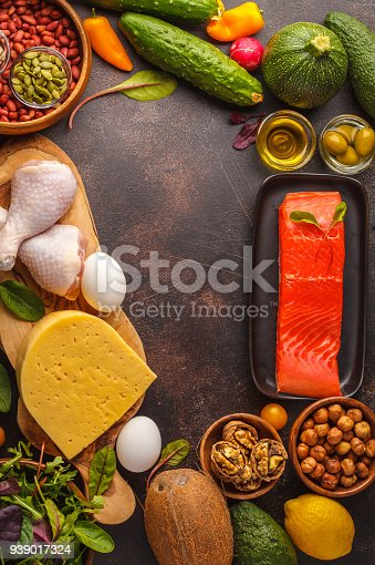 939018232 istock photo Keto (ketogenic) diet concept. High protein food, food frame background. Vegetables, fish, meat, cheese, nuts on a dark background. 939017324