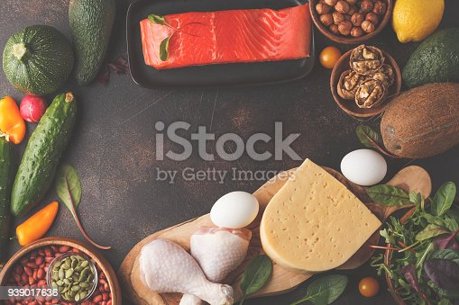 939018232 istock photo Keto (ketogenic) diet concept. High protein food, food frame background. Vegetables, fish, meat, cheese, nuts on a dark background. 939017636