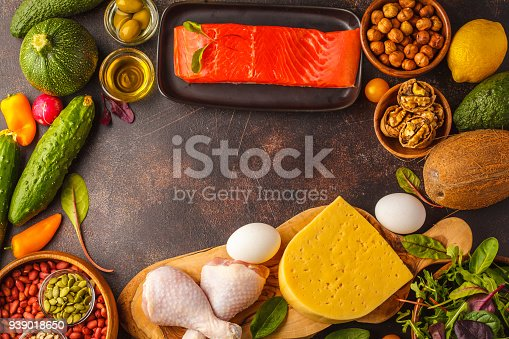 939018232 istock photo Keto (ketogenic) diet concept. High protein food, food frame background. Vegetables, fish, meat, cheese, nuts on a dark background. 939018650