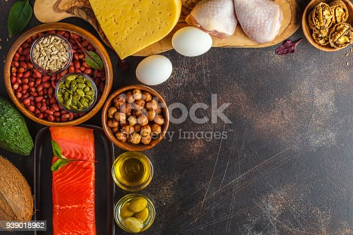 939018232 istock photo Keto (ketogenic) diet concept. High protein food, food frame background. Vegetables, fish, meat, cheese, nuts on a dark background. 939018962
