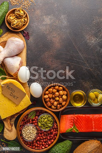 939018232 istock photo Keto (ketogenic) diet concept. High protein food, food frame background. Vegetables, fish, meat, cheese, nuts on a dark background. 939019222