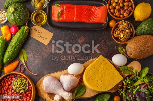 939018232 istock photo Keto (ketogenic) diet concept. High protein food, food frame background. Vegetables, fish, meat, cheese, nuts on a dark background. 939019296