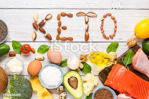 istock Keto diet concept. Ketogenic diet food. Balanced low-carb food background. Vegetables, fish, meat, cheese, nuts 1142636359