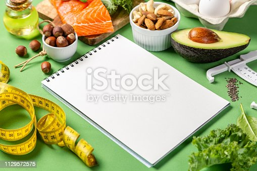 1129572695 istock photo Keto diet concept - salmon, avocado, eggs, nuts and seeds 1129572575