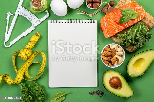 1129572695 istock photo Keto diet concept - salmon, avocado, eggs, nuts and seeds 1129572601