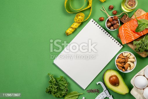 1129572695 istock photo Keto diet concept - salmon, avocado, eggs, nuts and seeds 1129572607
