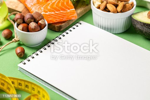 1129572695 istock photo Keto diet concept - salmon, avocado, eggs, nuts and seeds 1129572633