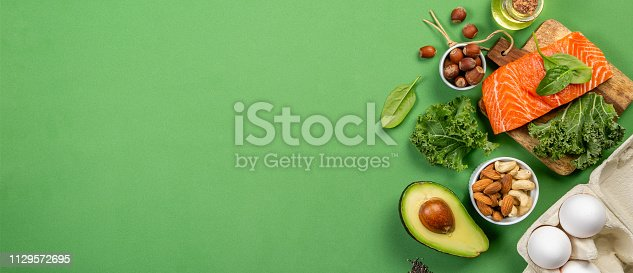 istock Keto diet concept - salmon, avocado, eggs, nuts and seeds 1129572695
