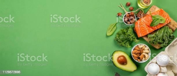 Keto diet concept salmon avocado eggs nuts and seeds picture id1129572695?b=1&k=6&m=1129572695&s=612x612&h=yd1tekkaomtqcej71lw0xdmhoerovks23jyu3noflge=