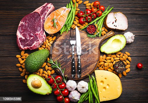 Knife and fork over wooden cutting board and ketogenic low carbs ingredients for healthy eating concept and weight loss, top view. Keto foods: meat, fish, avocado, cheese, vegetables, nuts