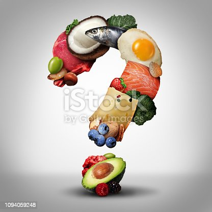 Keto diet questions and ketogenic low carb and high fat food  eating lifestyle as fish nuts eggs meat avocado and other nutritious ingredients as a therapeutic meal shaped as a question mark as a 3D illustration elements.