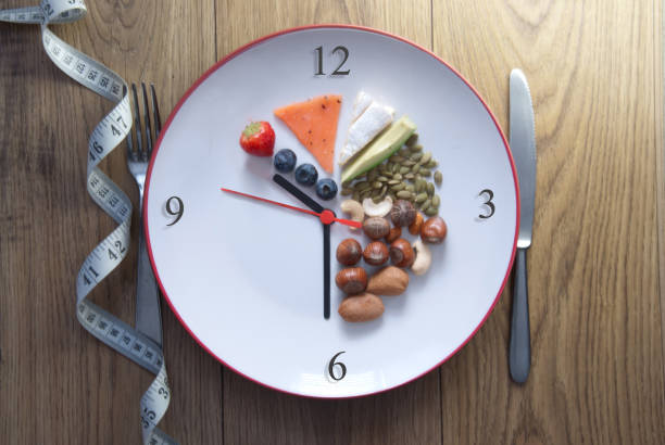 Keto fasting concept Clock plate of keto foods with 70% fat, 20%  protein and 10 % carbs dieting stock pictures, royalty-free photos & images