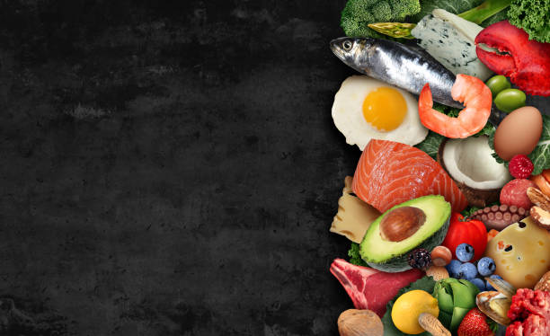 Keto Food Background Keto food background as a nutrition lifestyle and ketogenic diet low carb and high fat eating as fish nuts eggs meat avocado and other healthy ingredients as a therapeutic meal with text area in a 3D illustration style. ketogenic diet stock pictures, royalty-free photos & images