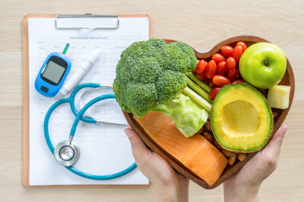 Keto food for ketogenic diet, healthy nutritional food eating lifestyle for good heart health with high protein, fat, low-carb to prevent heart disease and diabetes illness control stock photo