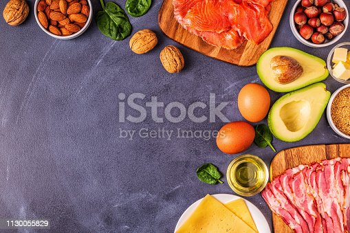 istock Keto, ketogenic diet, low carb, healthy food background 1130055829