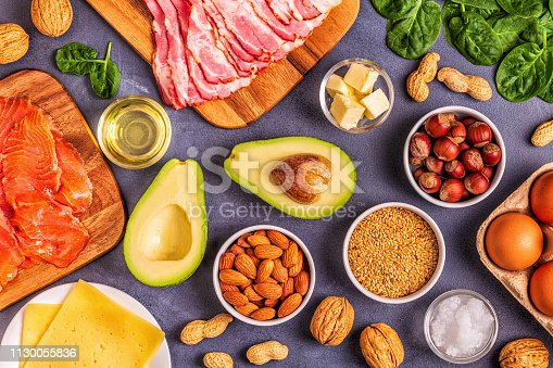 istock Keto, ketogenic diet, low carb, healthy food background 1130055836