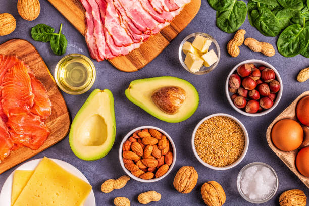 Keto, ketogenic diet, low carb, healthy food background Keto, ketogenic diet, low carb, healthy food background, top view. ketogenic diet stock pictures, royalty-free photos & images