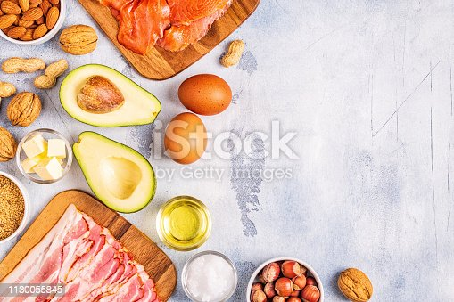 istock Keto, ketogenic diet, low carb, healthy food background 1130055845