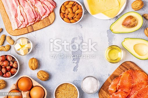 istock Keto, ketogenic diet, low carb, healthy food background 1130055882