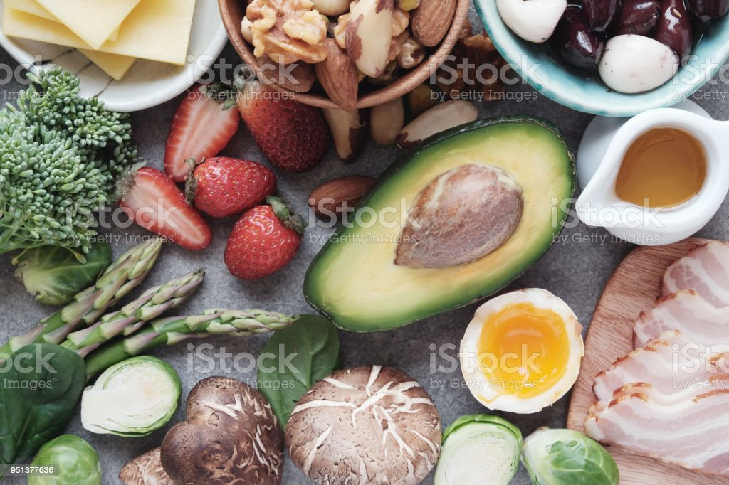 Keto, Ketogenic diet, low carb, healthy food stock photo