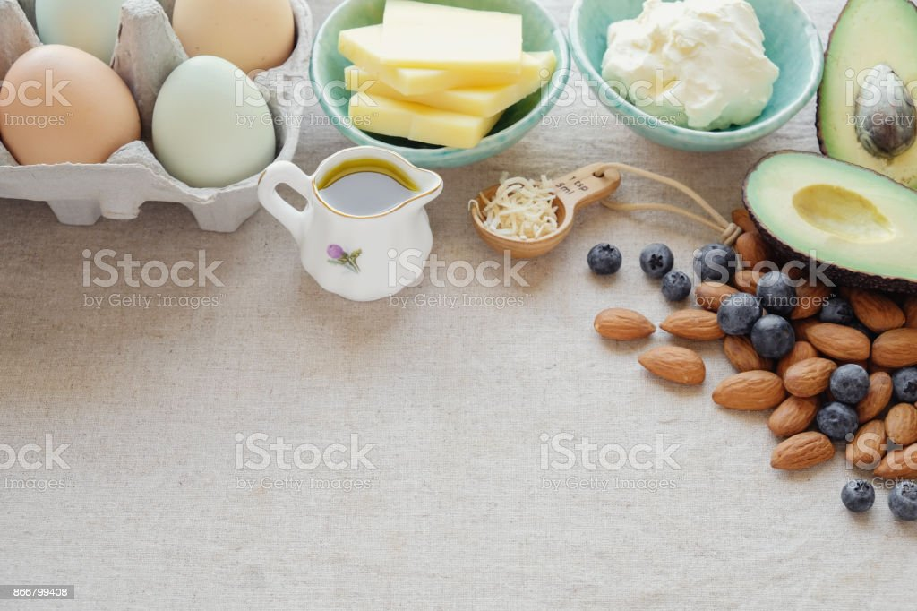 Keto, ketogenic diet,  low carb,  high fat healthy weight loss food stock photo