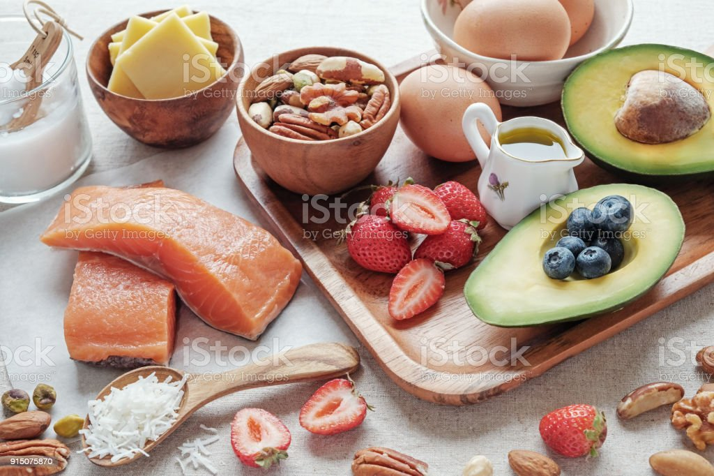 Keto, ketogenic diet, low carb, high good fat ,  healthy food foto stock royalty-free